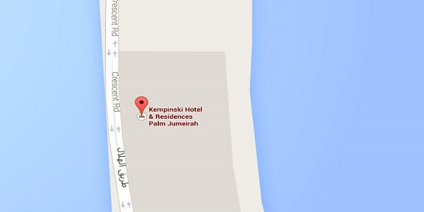 Location Map of Kempinski Hotel & Residences Palm Jumeirah Dubai