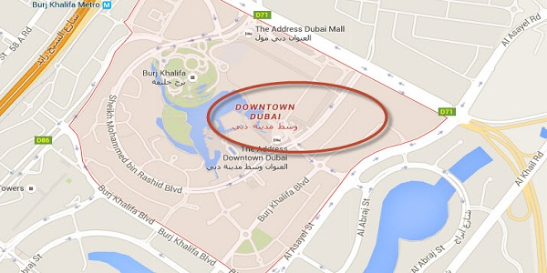 Location Map of Downtown Dubai