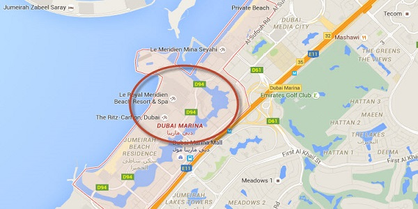 Location Map of Dubai Marina
