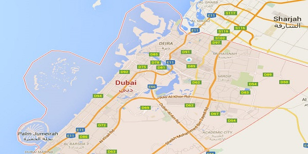 Location Map of Dubai United Arab Emirates.