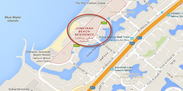 Location Map of Jumeirah Beach Residence Dubai