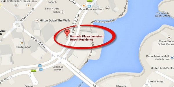 Location Map of Ramada Plaza Jumeirah Beach Residence Hotel Dubai