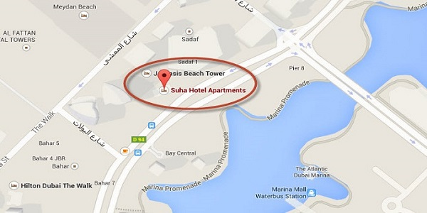 Location Map of Suha Hotel Apartments Dubai